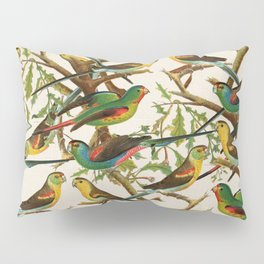 Whimsical red green colorful birds parakeets Pillow Sham