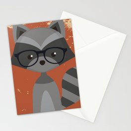 Hipster Raccoon Stationery Cards