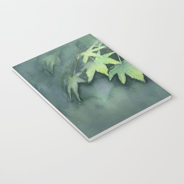Japanese Maple Watercolor Green Leaves Tree Branch Nature Notebook