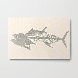 Tunafish Skeleton Drawing Metal Print