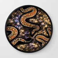snake Wall Clocks featuring SNAKE by sametsevincer