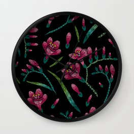 Embroidered Flowers on Black Pattern 07 Wall Clock