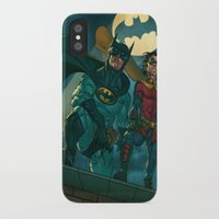 justice league iPhone & iPod Cases featuring bat man the watch men justice league man of steel by Brian Hollins art