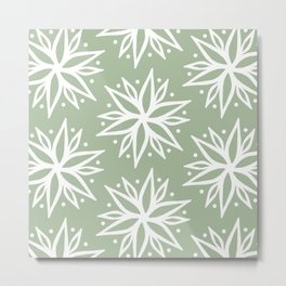 Light Green and White Bohemian Pattern  Metal Print