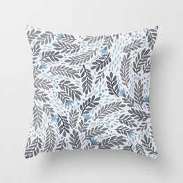 Blue and grey florals Throw Pillow