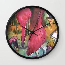 flamingos pizza party Wall Clock