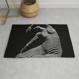 0077s-DJA Abstract Photograph of Seated Woman Striped by Light and Shade Rug