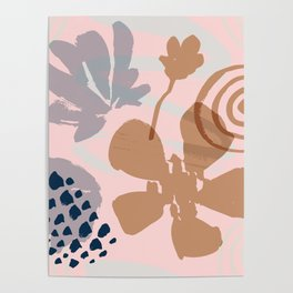 Abstract Leaves and Flowers III Poster