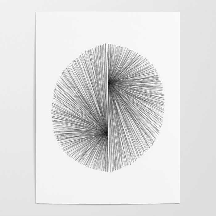 Mid Century Modern Geometric Abstract Radiating Lines Poster