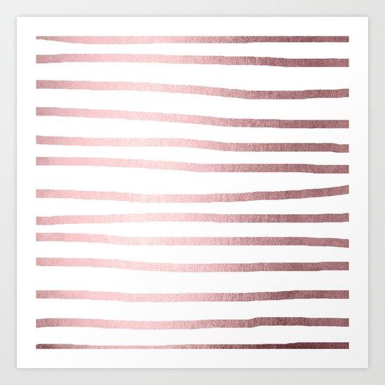 Simply Drawn Stripes Rose Quartz Elegance Art Print