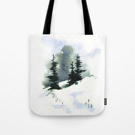 Snowy Hillside Watercolor Tote Bag