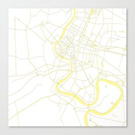 Bangkok Thailand Minimal Street Map - Pastel Yellow and White Canvas Print