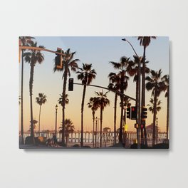 Huntington Beach Summer Sunset at the pier Metal Print
