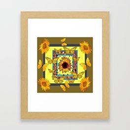 WESTERN STYLE BUTTERFLIES-SUNFLOWERS ART Framed Art Print