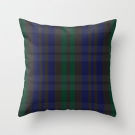 Green and blue plaid pattern Throw Pillow
