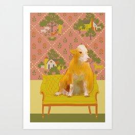 Farm Animals in Chairs #1 Cow Art Print