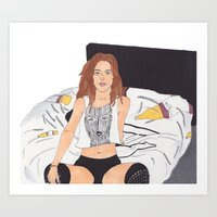 badwood Art Prints featuring Vibin' on her own by Reza Zabardast