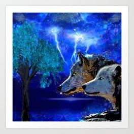 WOLF AND LIGHTENING Art Print