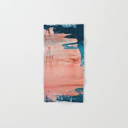 Energy: a vibrant minimal abstract piece in pink and blue by Alyssa Hamilton Art Hand & Bath Towel