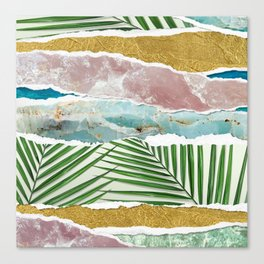 Nature's Collage I -Amethyst, Gold, Green Fans & Turquoise Seas Canvas Print