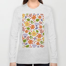 Sunshine yellow lavender orange abstract floral illustration Long Sleeve T-shirt