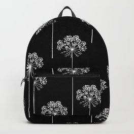 Hand drawn vector carrot flower, seamless pattern Backpack
