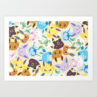 eevee Art Prints featuring Eevee Evolutions by RAVEFIRELL