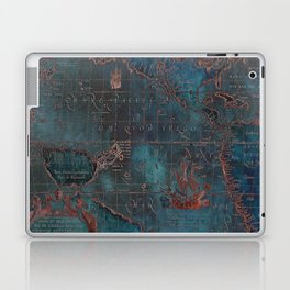 Antique Map Teal Blue and Copper Laptop & iPad Skin