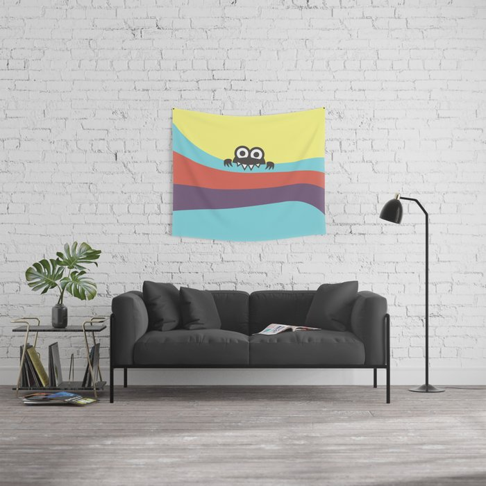 Yummy Colorful Stripes Cute Cartoon Character Wall Tapestry