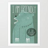 bear Art Prints featuring Friendly Bear by Sarajea