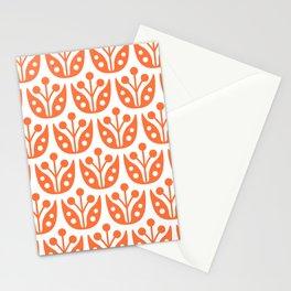 Mid Century Flower Pattern orange 4b Stationery Cards