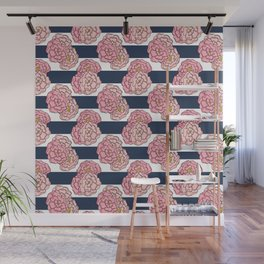 Pink Peony Floral on Navy Blue and White Stripes Wall Mural