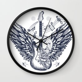 Guitar and wings Wall Clock