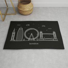 London Minimal Nightscape / Skyline Drawing Rug