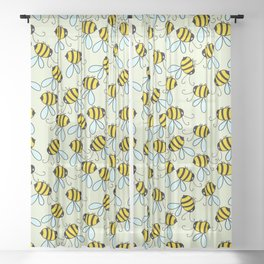 Bumble Bees of Summer Sheer Curtain