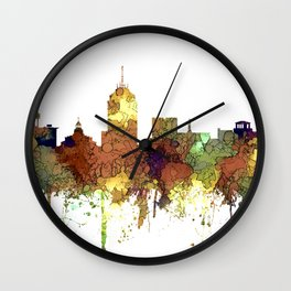 Fresno, California Skyline SG - Safari Buff Wall Clock
