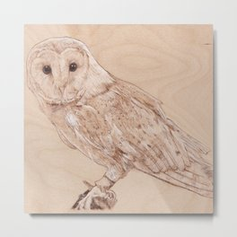 Owl Portrait - Drawing by Burning on Wood - Pyrography Art Metal Print