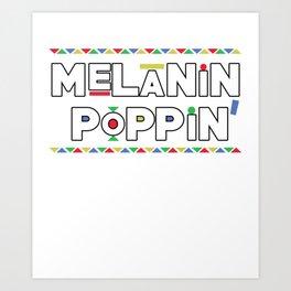Melanin Poppin Black Outline Art Print