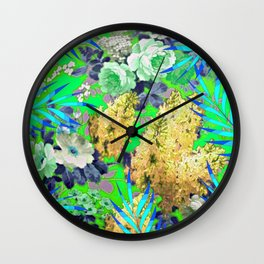 BLUE & GREEN FLORAL PATTERN Wall Clock