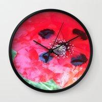 degas Wall Clocks featuring Degas' poppy by Bee in Eden