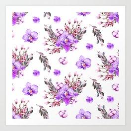 Lavender purple pink watercolor modern floral pattern Art Print
