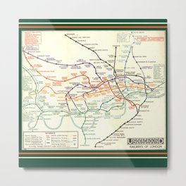 Vintage London Underground Map Metal Print