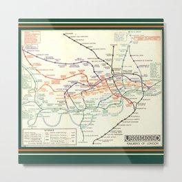 Vintage London Underground Map Metal Print