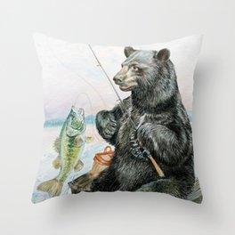 Black Bear catching a Bass Throw Pillow
