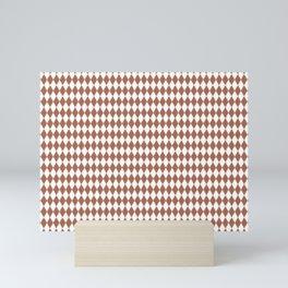Sherwin Williams Cavern Clay Rippled Diamonds, Harlequin, Classic Rhombus Pattern Mini Art Print