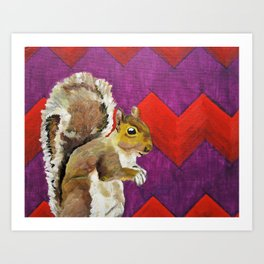 Orange and Purple Chevron Squirrel by Mike Kraus - art animals wildlife silly fun children kids fun Art Print