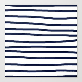Simply Drawn Stripes in Nautical Navy Canvas Print