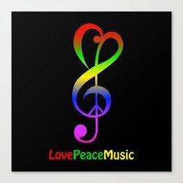 Love peace music hippie treble clef Canvas Print