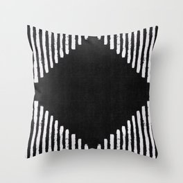 Diamond Stripe Geometric Block Print in Black and White Throw Pillow