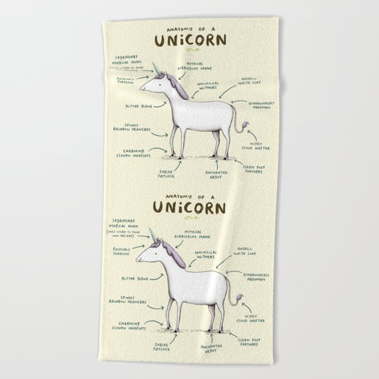 Anatomy of a Unicorn Beach Towel